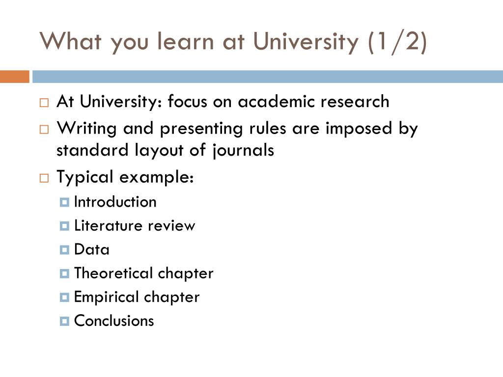 What you learn at University (1/2)