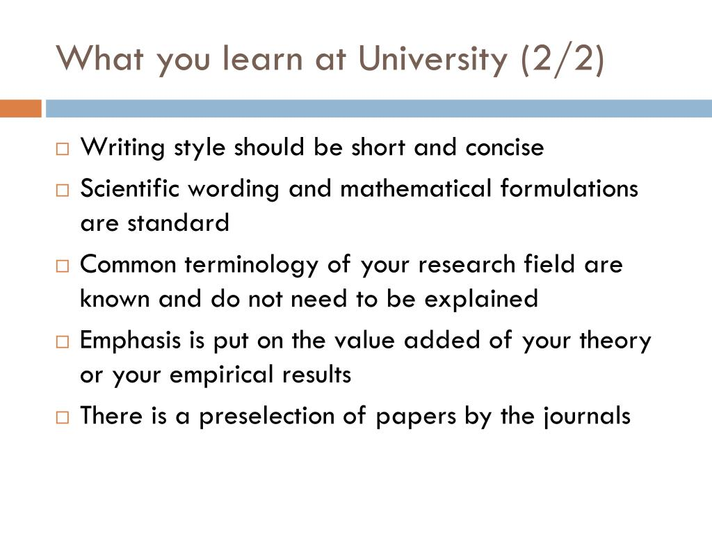 What you learn at University (2/2)