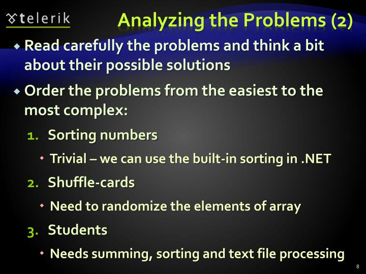 Analyzing the Problems (2)