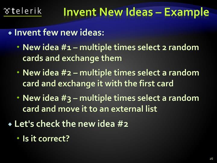 Invent New Ideas – Example