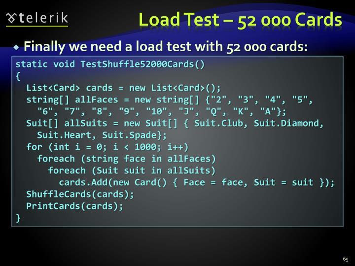 Load Test – 52 000 Cards