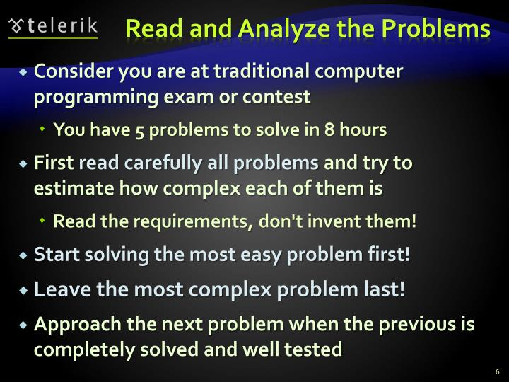 Read and Analyze the Problems