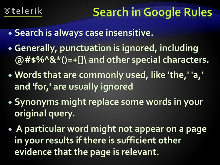Search in Google Rules