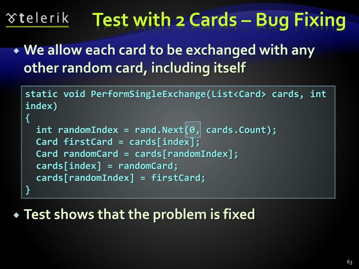 Test with 2 Cards – Bug Fixing