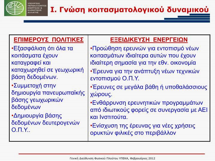 Ι. Γνώση κοιτασματολογικού δυναμικού