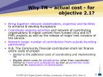 why tn actual cost for objective 2 1
