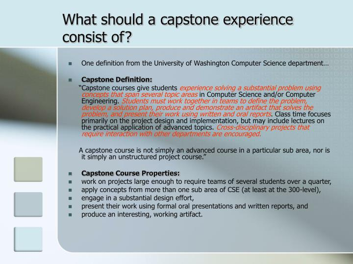 what should a capstone experience consist of n.