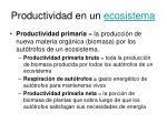 productividad en un ecosistema