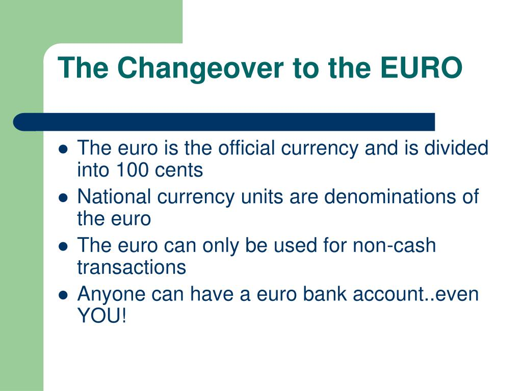 the changeover to the euro l.