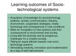 learning outcomes of socio technological systems