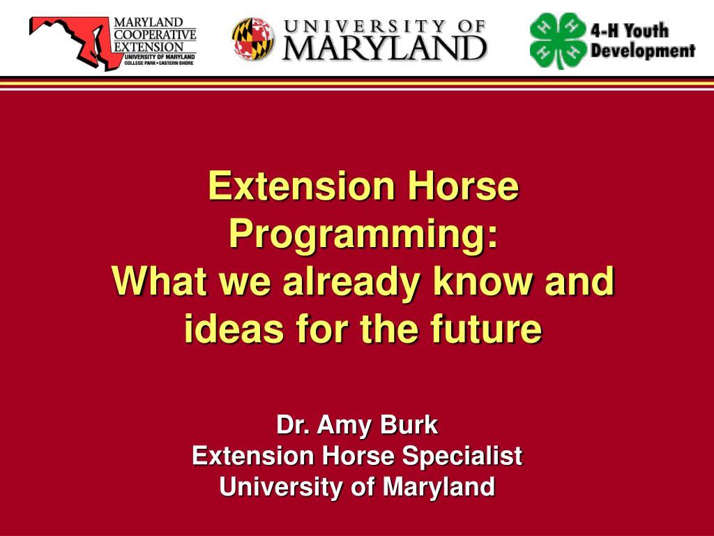Extension Horse Programming: