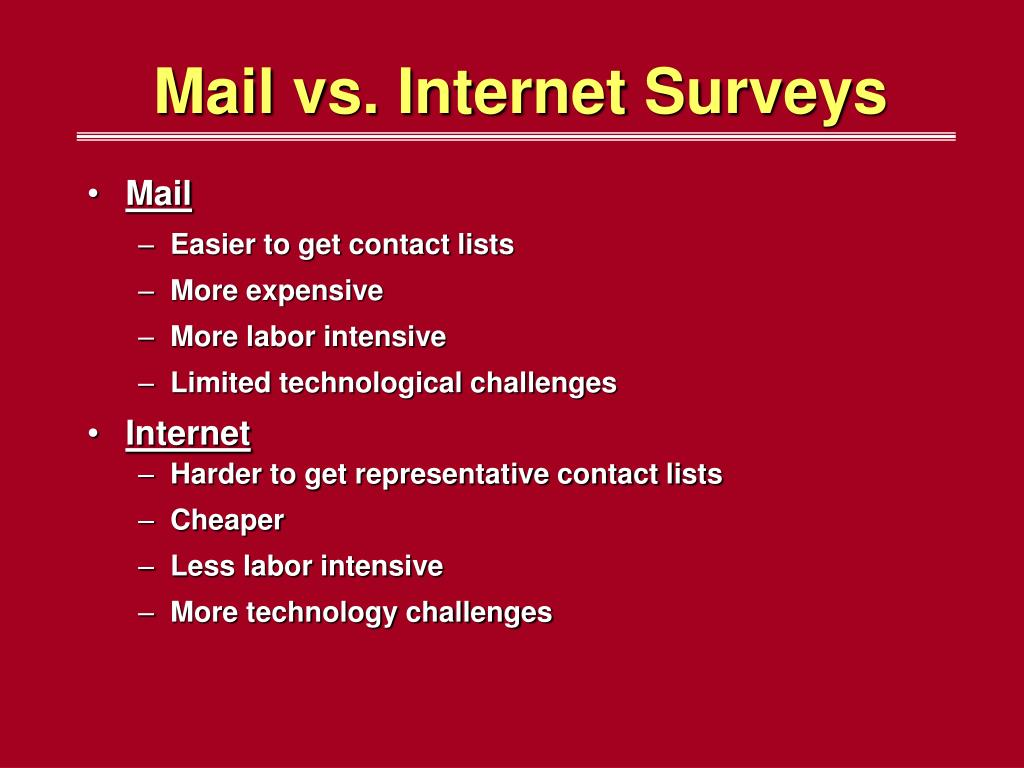 Mail vs. Internet Surveys