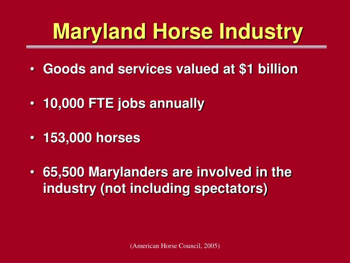 Maryland horse industry