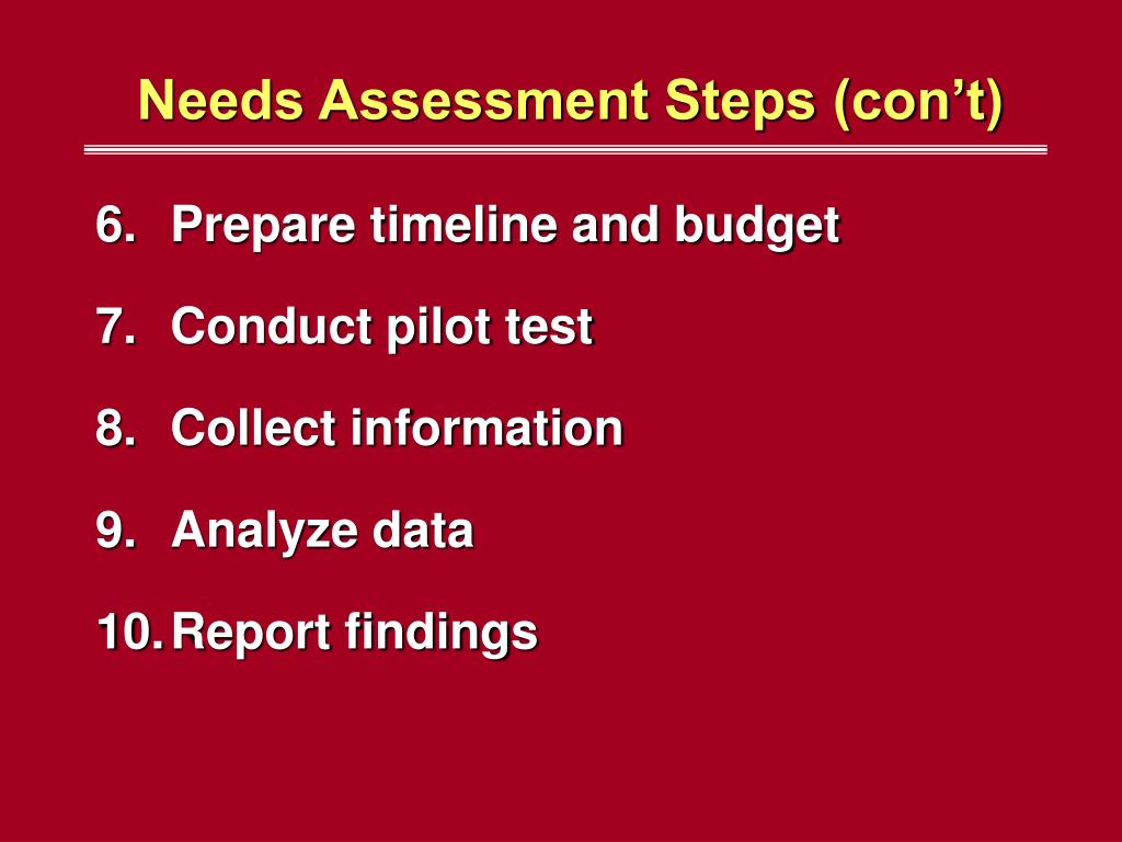 Needs Assessment Steps (con't)
