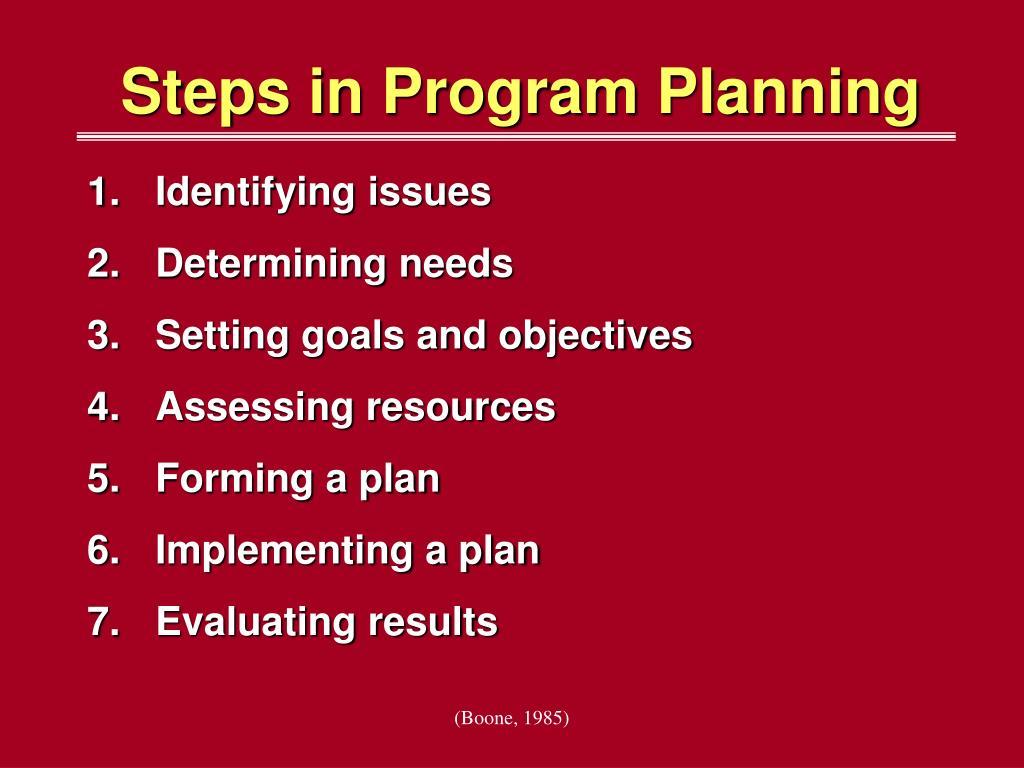 Steps in Program Planning