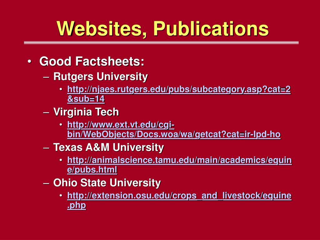 Websites, Publications