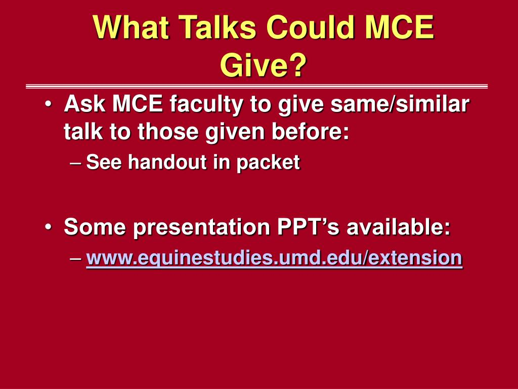 What Talks Could MCE Give?