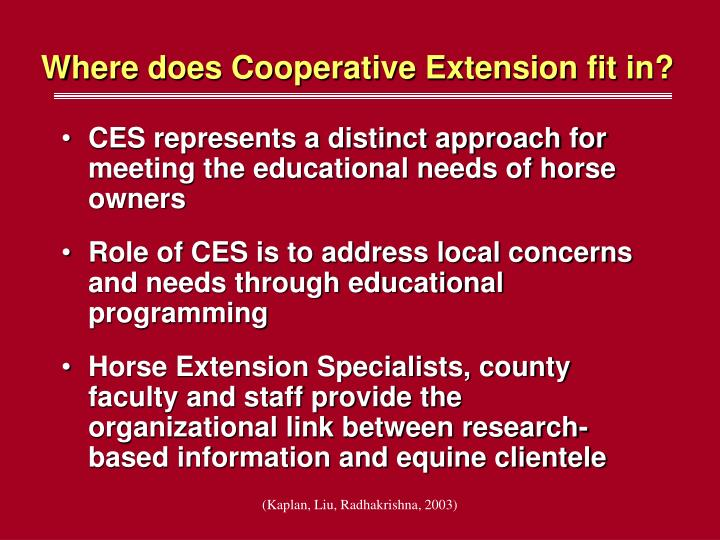 Where does cooperative extension fit in