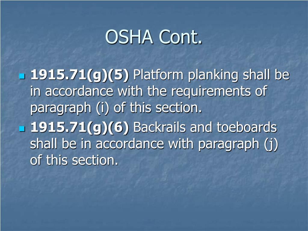 OSHA Cont.