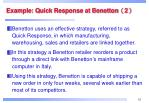 example quick response at benetton 2