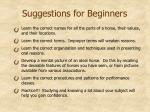 suggestions for beginners