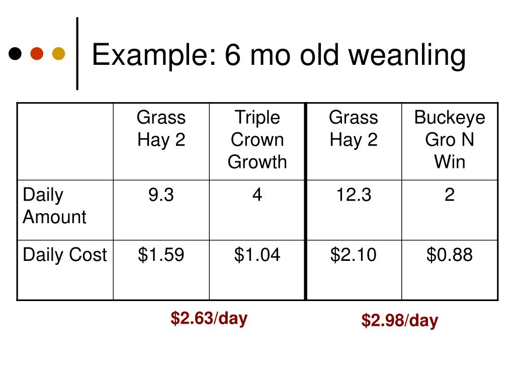 Example: 6 mo old weanling