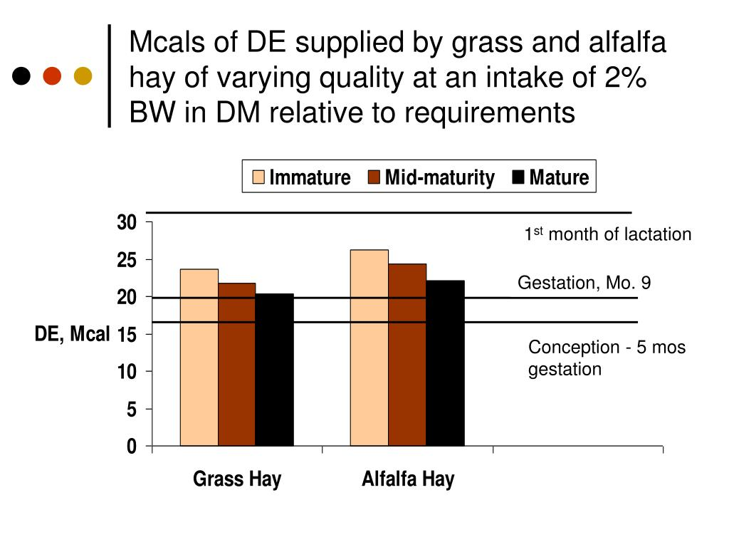 Mcals of DE supplied by grass and alfalfa hay of varying quality at an intake of 2% BW in DM relative to requirements