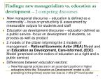 findings new managerialism vs education as development 2 competing discourses