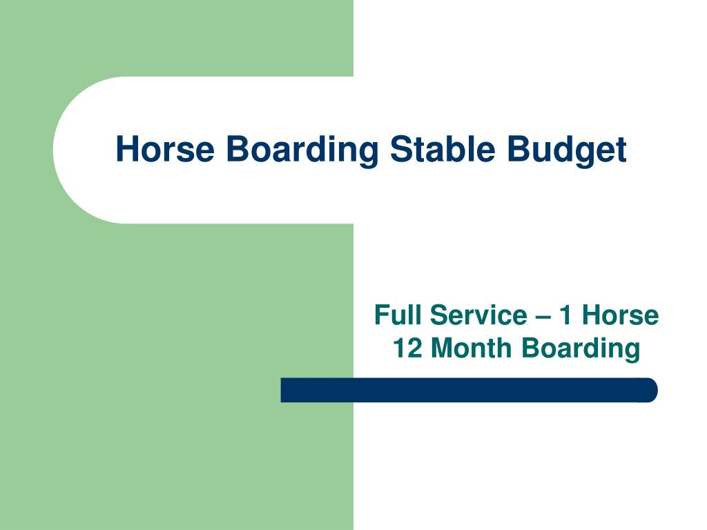 Horse Boarding Stable Budget