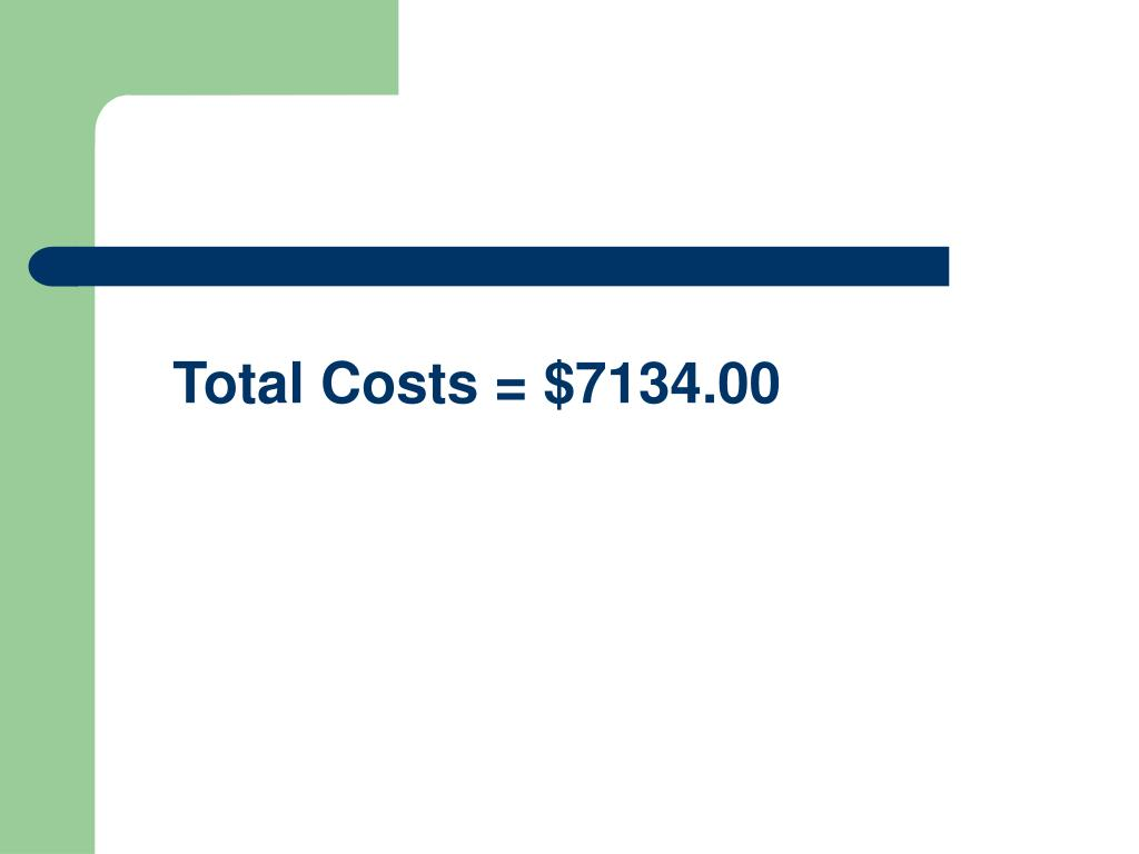 Total Costs = $7134.00