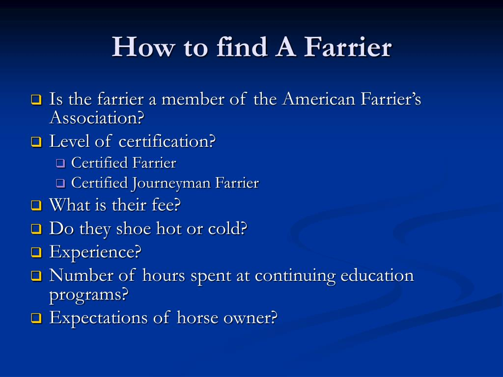 How to find A Farrier