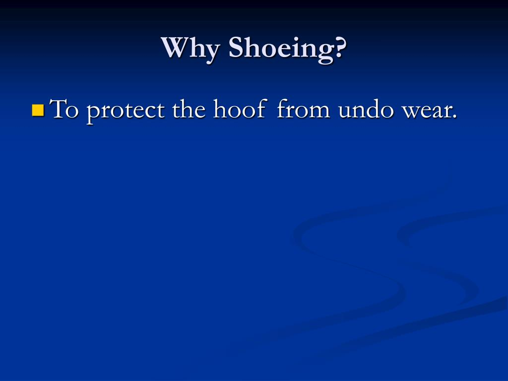 Why Shoeing?