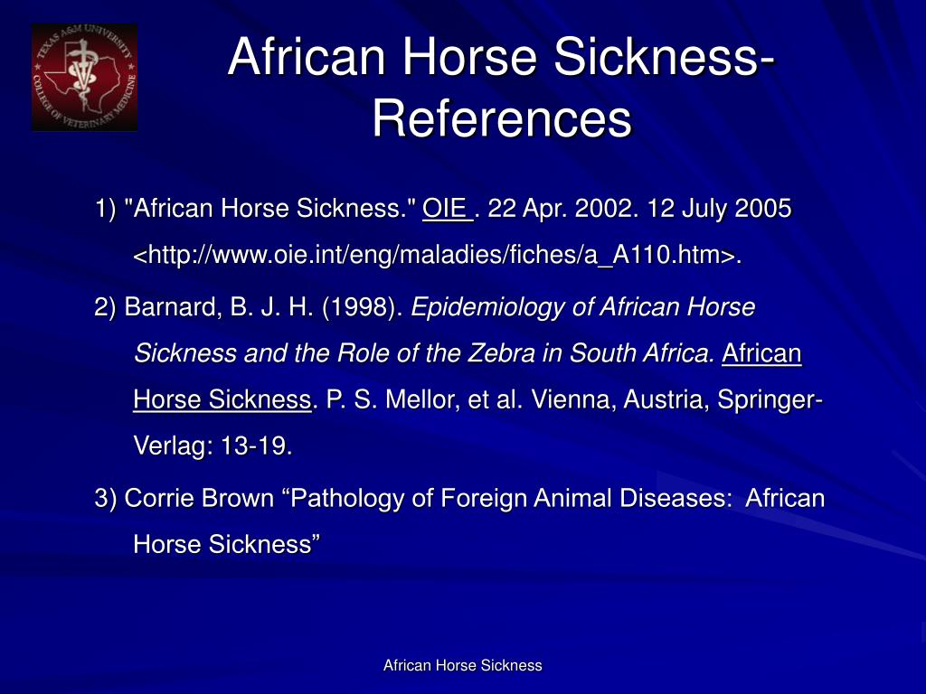 African Horse Sickness- References