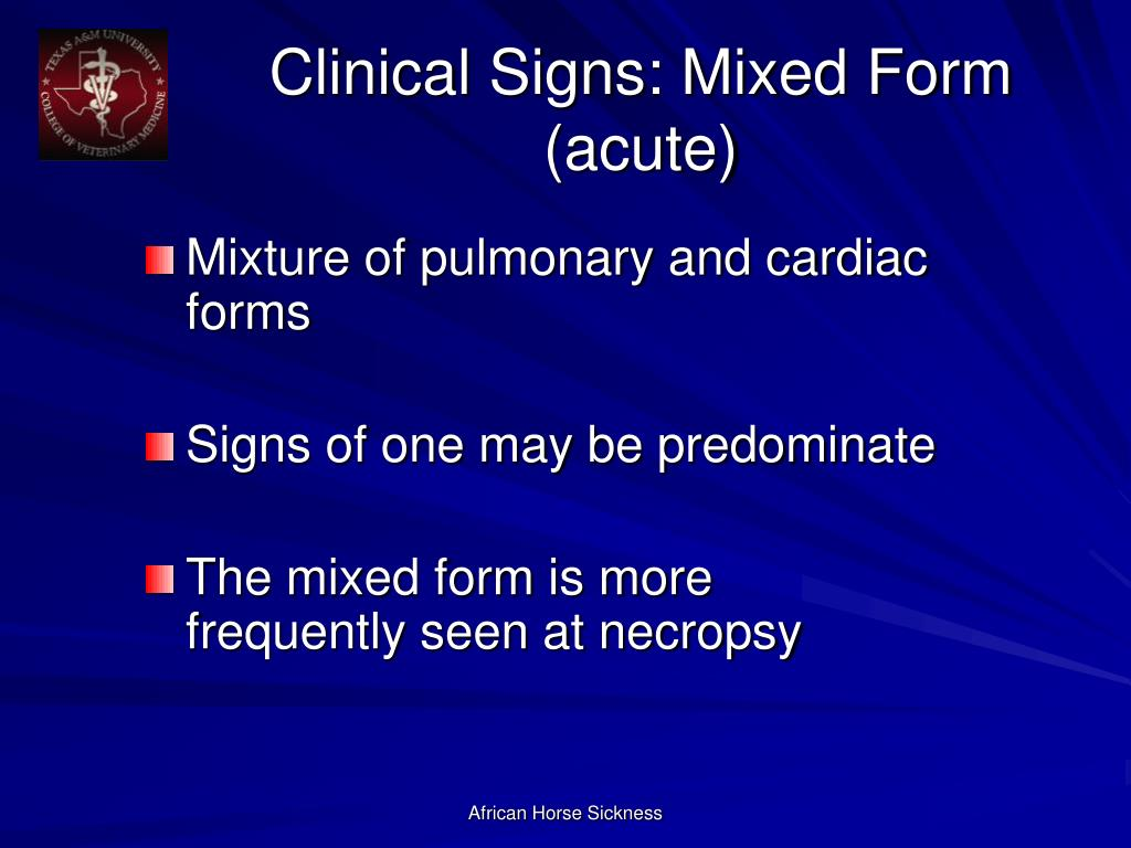 Clinical Signs: Mixed Form (acute)