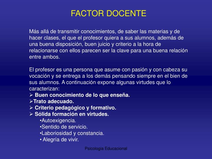 FACTOR DOCENTE