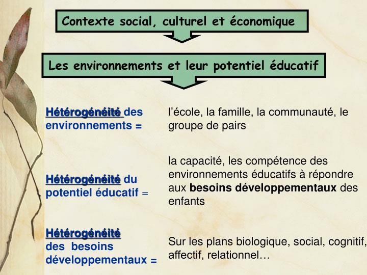Contexte social, culturel et économique