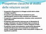 prospettive classiche di studio delle relazioni sociali