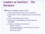 leaders as teachers the literature