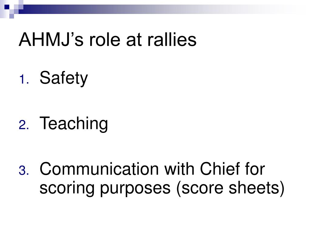 AHMJ's role at rallies