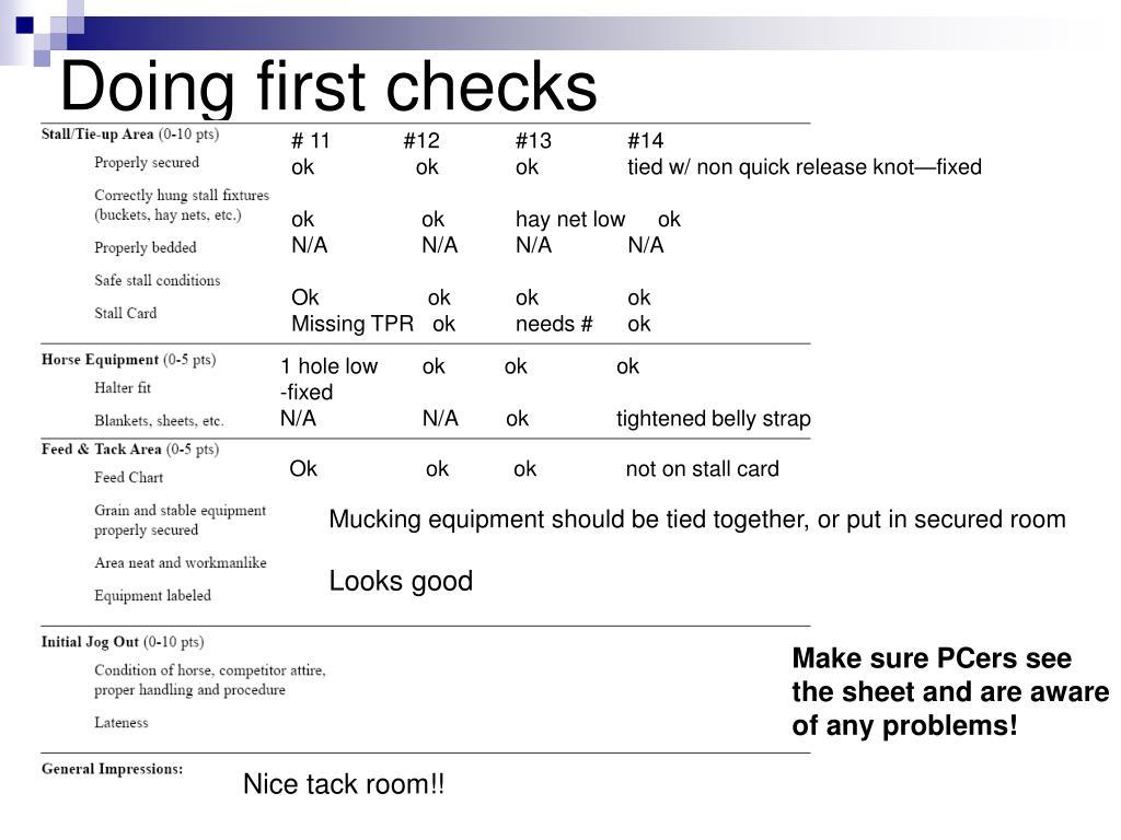 Doing first checks