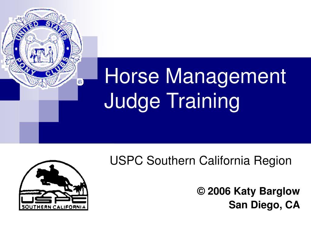 Horse Management Judge Training