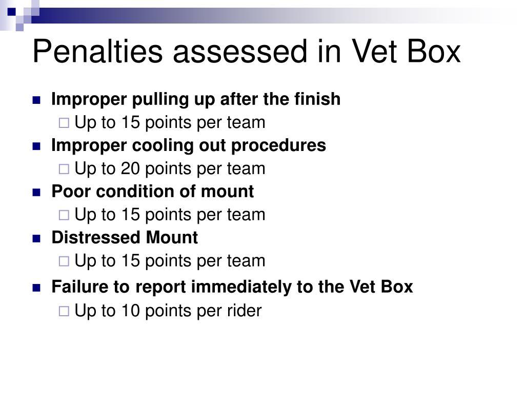 Penalties assessed in Vet Box