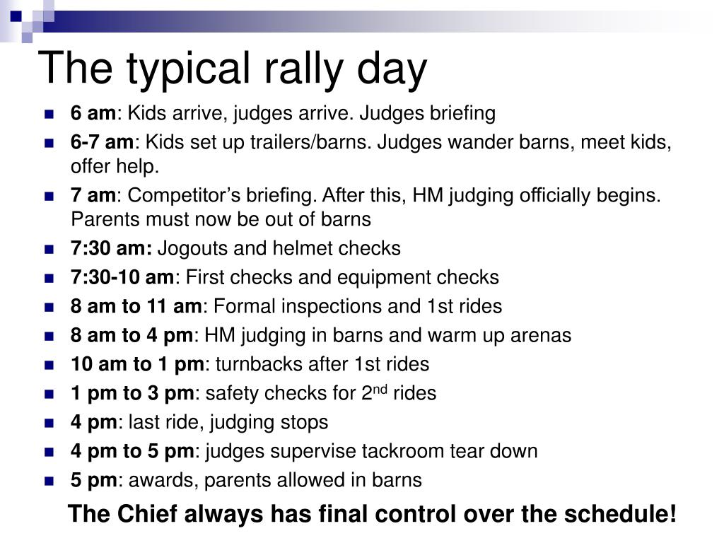 The typical rally day
