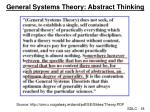 general systems theory abstract thinking