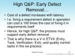 high q p early defect removal