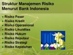 s truktur m anajemen risiko menurut bank indonesia