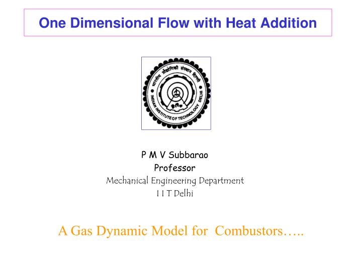one dimensional flow with heat addition n.
