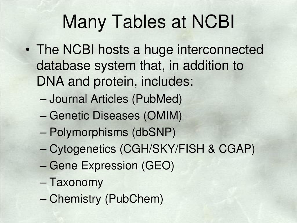 Many Tables at NCBI