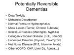 potentially reversible dementias