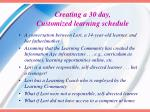 creating a 30 day customized learning schedule